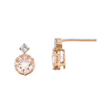 jcpenney.com | Genuine Morganite and 1/8 CT. T.W. Diamond 14K Rose Gold Stud Earrings