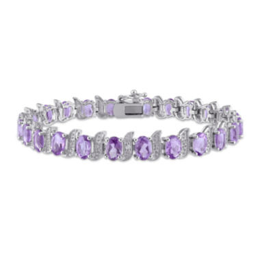 jcpenney.com | Genuine Purple Amethyst and Diamond-Accent Sterling Silver Bracelet