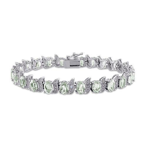 Genuine Green Quartz and Diamond-Accent Sterling Silver Bracelet