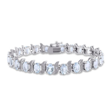 jcpenney.com | Genuine Aquamarine and Diamond-Accent Sterling Silver Bracelet