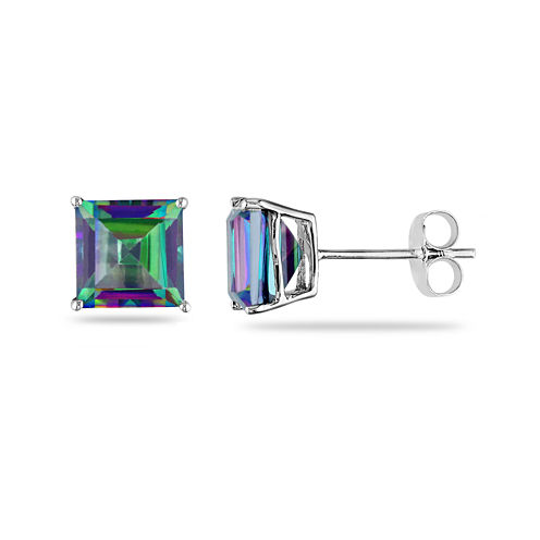 Square Genuine Green Topaz 10K White Gold Stud Earrings