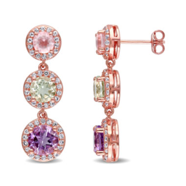 jcpenney.com | Genuine Rose de France Amethyst, Green and Pink Quartz Earrings