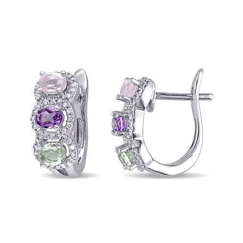 Genuine Rose de France Amethyst, Green and Pink Quartz Earrings