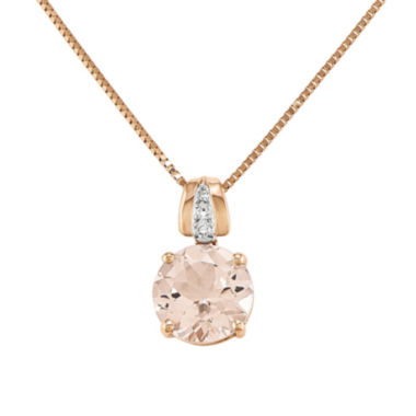 jcpenney.com | Genuine Morganite and Diamond-Accent 14K Rose Gold Pendant Necklace