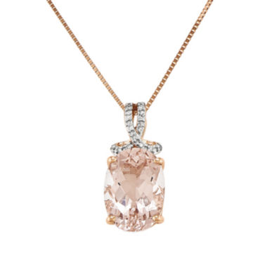 jcpenney.com | Oval Genuine Morganite and Diamond-Accent 14K Rose Gold Pendant Necklace