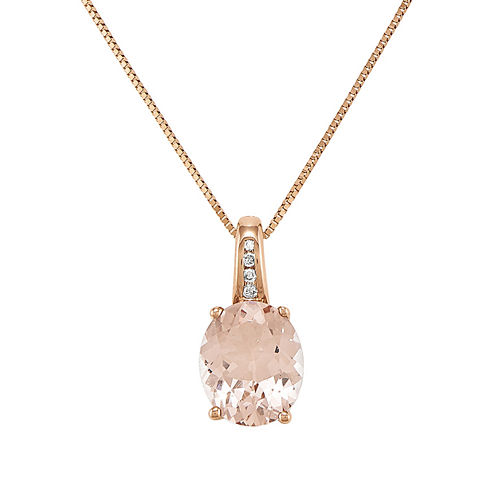 Oval Genuine Morganite and Diamond-Accent 14K Rose Gold Pendant Necklace