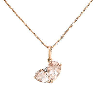 Pear shaped genuine morganite and diamond accent 14k rose gold pear shaped genuine morganite and diamond accent 14k rose gold pendant necklace aloadofball Image collections