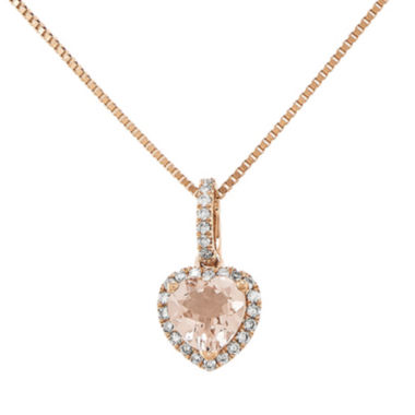 jcpenney.com | Heart-Shaped Genuine Morganite and 1/7 CT. T.W. Diamond 14K Rose Gold Pendant Necklace