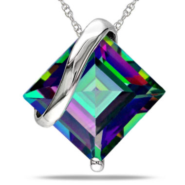 jcpenney.com | Square Genuine Green Topaz 10K White Gold Pendant Necklace