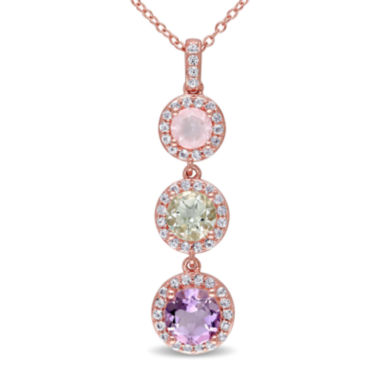 jcpenney.com | Genuine Rose de France Amethyst, Green and Pink Quartz Pendant Necklace