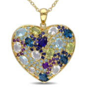 Genuine Amethyst, Quartz, Peridot and Tanzanite Heart Necklace