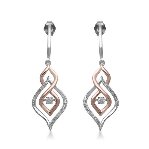 Love in Motion™ 1/3 CT.  TW. Diamond 10K Two-Tone Gold Teardrop Drop Earrings