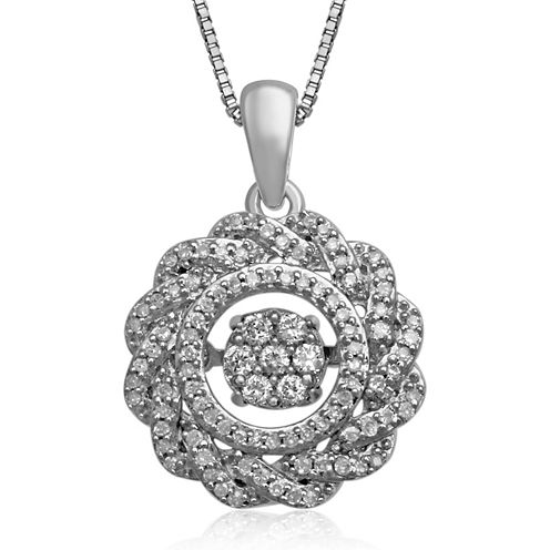 Love in Motion™ 1/4 CT. T.W. Diamond Sterling Silver Circle Pendant Necklace