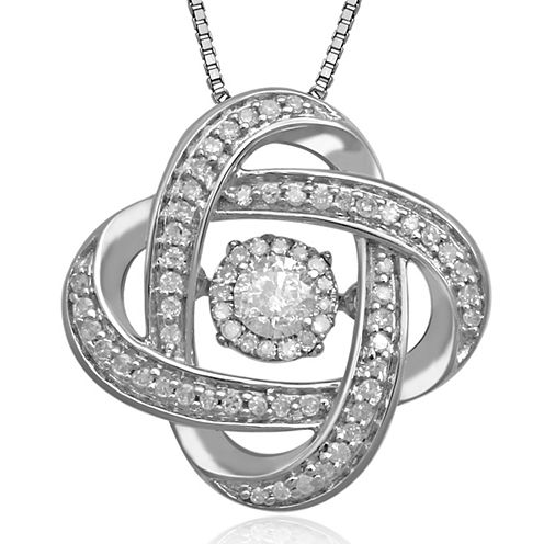 Love in Motion™ 1/3 CT. T.W. Diamond Sterling Silver Orbital Pendant Necklace