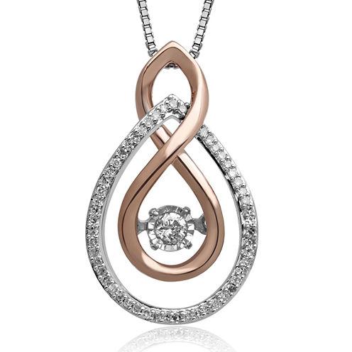 Love in Motion™ 1/6 CT. T.W. Diamond Two-Tone Double-Teardrop Pendant Necklace