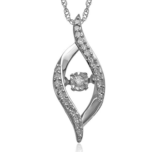 Love in Motion™ 1/10 CT. T.W. Diamond 10K White Gold Pendant Necklace