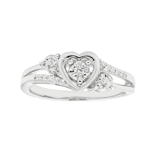 1/10 CT. T.W. Diamond Sterling Silver Heart Promise Ring