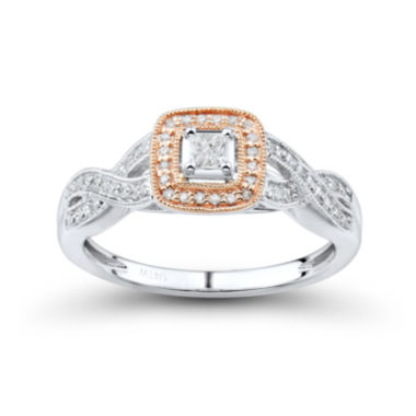 jcpenney.com | Princess-Cut 1/4 CT. T.W. Diamond 10K Two-Tone Gold Milgrain Promise Ring