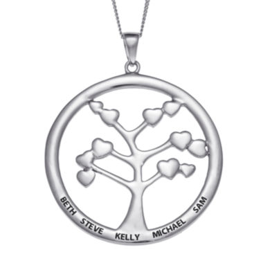 jcpenney.com | Personalized Sterling Silver Family Tree Engraved Name Pendant Necklace