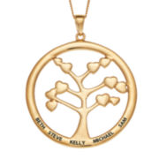 Personalized 18K Yellow Gold Over Silver Family Tree Name Pendant Necklace