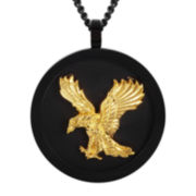 Mens Two-Tone Stainless Steel Eagle Pendant Necklace