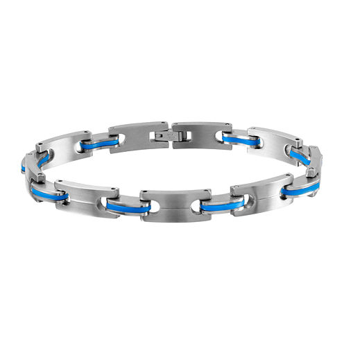 Mens Two-Tone Stainless Steel with Blue Links Bracelet
