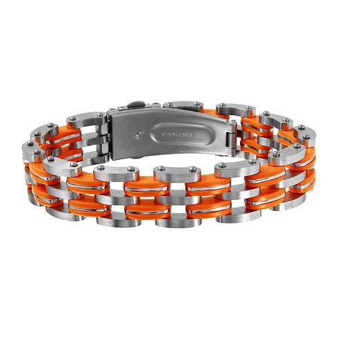 Mens Two-Tone Stainless Steel with Orange Links Bracelet