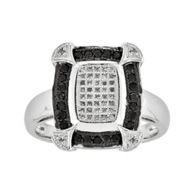 jcpenney.com | 1/3 CT. T.W. White and Color-Enhanced Black Diamond Square Ring