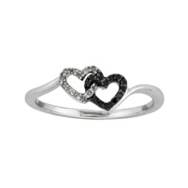 jcpenney.com | 1/10 CT. T.W. White and Color-Enhanced Black Diamond Double-Heart Ring