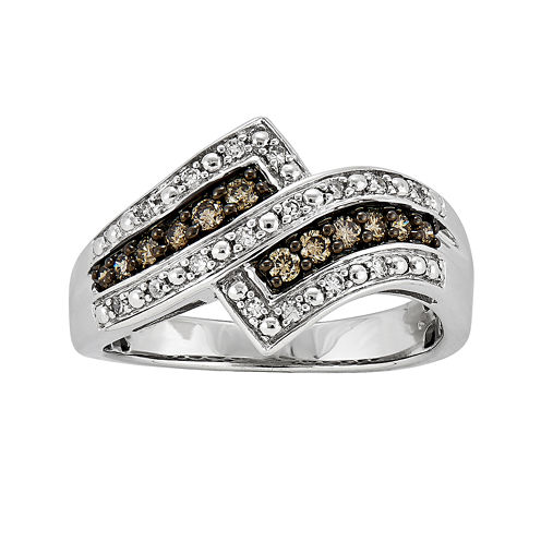 1/3 CT. T.W. White and Champagne Diamond Ring