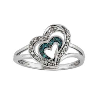 jcpenney.com | White and Color-Enhanced Blue Diamond-Accent Double-Heart Ring