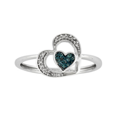 jcpenney.com | White and Color-Enhanced Blue Diamond-Accent Heart Ring