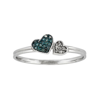 jcpenney.com | White and Color-Enhanced Blue Diamond-Accent Double Heart Ring