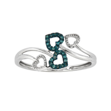 jcpenney.com | White and Color-Enhanced Blue Diamond-Accent Four-Heart Ring