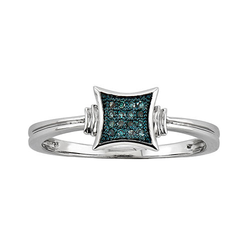 Color-Enhanced Blue Diamond-Accent Square Ring