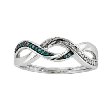 jcpenney.com | 1/10 CT. T.W. White and Color-Enhanced Blue Diamond Crossover Ring