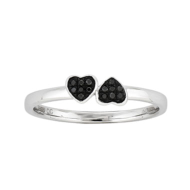 jcpenney.com | Color-Enhanced Black Diamond-Accent Double Heart Stackable Ring