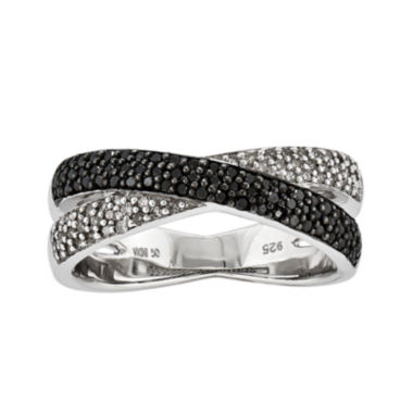 jcpenney.com | 3/8 CT. T.W. White and Color-Enhanced Black Diamond Crossover Ring