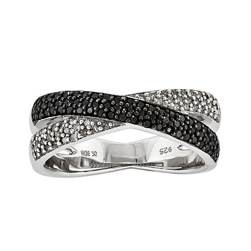 3/8 CT. T.W. White and Color-Enhanced Black Diamond Crossover Ring