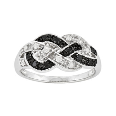 jcpenney.com | 1/4 CT. T.W. White and Color-Enhanced Black Diamond Loop Ring