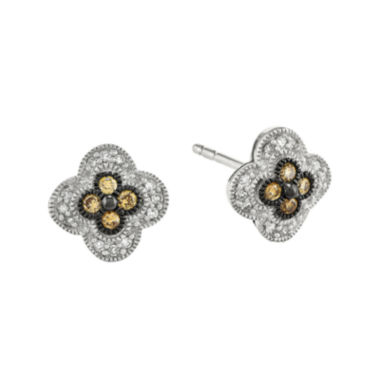 jcpenney.com | 1/4 CT. T.W. White and Champagne Sterling Silver Flower Stud Earrings