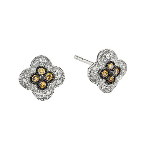 1/4 CT. T.W. White and Champagne Sterling Silver Flower Stud Earrings