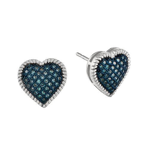 1/4 CT. T.W. Color-Enhanced Blue Diamond Sterling Silver Heart Stud Earrings