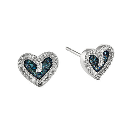 1/5 CT. T.W. White and Color-Enhanced Blue Diamond Sterling Silver Heart Stud Earrings
