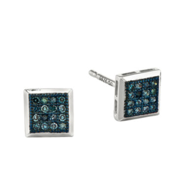 jcpenney.com | 1/10 CT. T.W. White and Color-Enhanced Blue Diamond Sterling Silver Square Stud Earrings