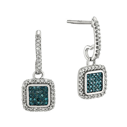 1/3 CT. T.W. White and Color-Enhanced Blue Diamond Sterling Silver Square Drop Earrings