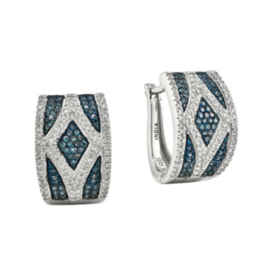 jcpenney.com | 1/2 CT. T.W. White and Color-Enhanced Blue Diamond Sterling Silver Hoop Earrings