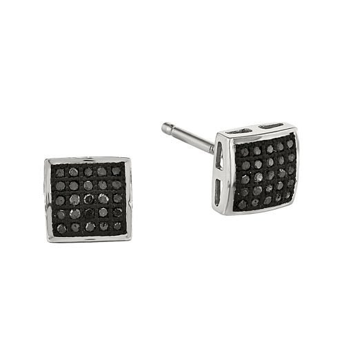 1/7 CT. T.W. White and Color-Enhanced Black Diamond Sterling Silver Stud Earrings