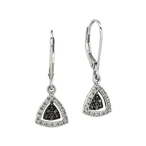 1/5 CT. T.W. White and Color-Enhanced Black Diamond Sterling Silver Triangle Drop Earrings