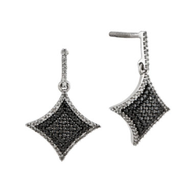 jcpenney.com | 5/8 CT. T.W. White and Color-Enhanced Black Diamond Sterling Silver Drop Earrings
